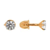 Золотые серьги гвоздики с Swarovski ДИ81020227