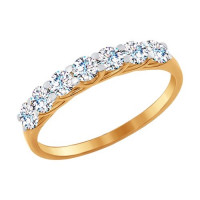 Золотое кольцо с фианитами ДИ017052