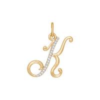 Золотая подвеска Буква К с фианитами ДИ034533
