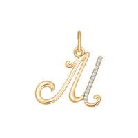 Золотая подвеска Буква М с фианитами
