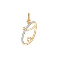 Золотая подвеска Буква О с фианитами ДИ034537