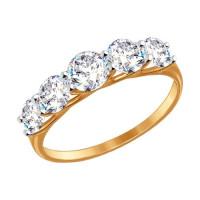 Золотое кольцо с фианитами ДИ017145