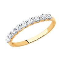 Золотое кольцо с фианитами ДИ017169