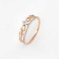 Золотое кольцо с фианитами ДИ017233