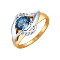 Золотое кольцо с топазами и фианитами ДИ714520