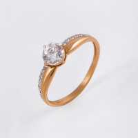 Золотое кольцо с сваровски и фианитами ЮПК1323816