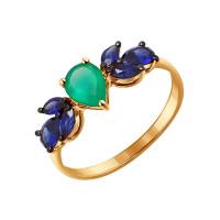 Золотое кольцо с хризопразами и сапфирами ДИ714149