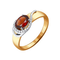 Золотое кольцо с гранатами и фианитами ДИ714073