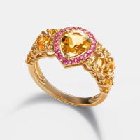 Золотое кольцо с бриллиантами, сапфирами, родолитами и турмалинами ЮЕРГ-33012