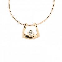 Золотое колье с бриллиантом КТЗКУЛ88457