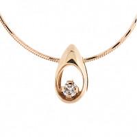 Золотое колье с бриллиантом КТЗКУЛ88455