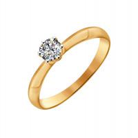 Золотое кольцо с сваровски ДИ81010225