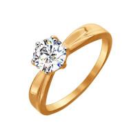 Золотое кольцо с сваровски ДИ81010252