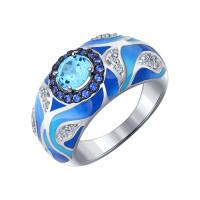 Серебряное кольцо с топазами и фианитами ДИ92011191