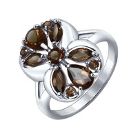 Серебряное кольцо с раухтопазами ДИ92011276