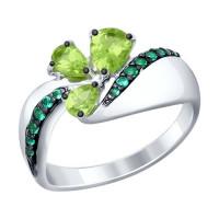 Серебряное кольцо с хризолитами и фианитами ДИ92011288