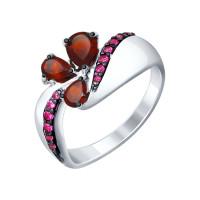 Серебряное кольцо с гранатами и фианитами ДИ92011289