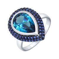 Серебряное кольцо с наноситалами и фианитами ДИ92011328