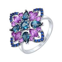Серебряное кольцо с аметистами, топазами и фианитами ДИ92011335