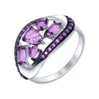Серебряное кольцо с аметистами и фианитами ДИ92011341