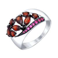 Серебряное кольцо с гранатами и фианитами ДИ92011345