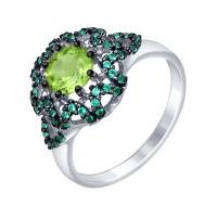 Серебряное кольцо с хризолитами и фианитами ДИ92011352