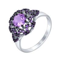 Серебряное кольцо с аметистами и фианитами ДИ92011353