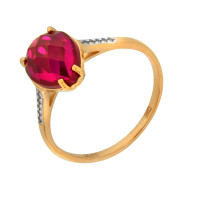 Золотое кольцо с корундами и фианитами ДИ714102