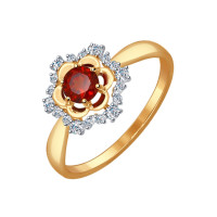 Золотое кольцо с гранатами и фианитами ДИ714486