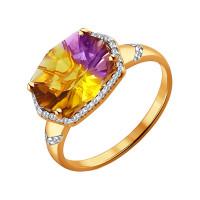 Золотое кольцо с аметринами ДИ713989