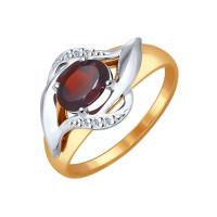 Золотое кольцо с гранатами и фианитами ДИ714521