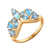 Золотое кольцо с топазами в виде короны