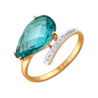 Золотое кольцо с ситалом ДИ714213