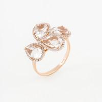 Золотое кольцо с хрусталем и фианитами