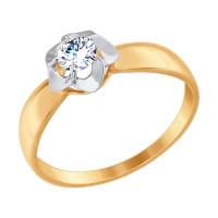 Золотое кольцо с фианитами ДИ017395
