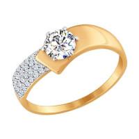 Золотое кольцо с фианитами ДИ017402