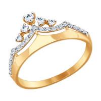 Золотое кольцо с фианитами ДИ017413