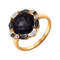 Золотое кольцо с агатами, шпинелью и фианитами ДИ714229