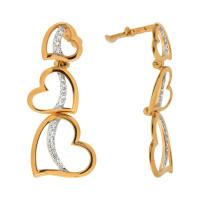 Золотые серьги гвоздики с фианитами ЮЫ1202000125415