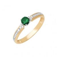 Золотое кольцо с изумрудом и бриллиантами ДПБР310177