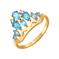 Золотое кольцо с топазами ДИ714278