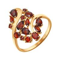 Золотое кольцо с гранатами ДИ714283