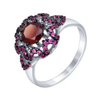 Серебряное кольцо с гранатами и фианитами ДИ92011351