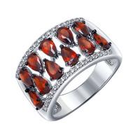 Серебряное кольцо с гранатами и фианитами ДИ92011192