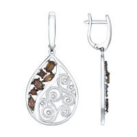 Серебряные серьги подвесные с раухтопазами ДИ92021418
