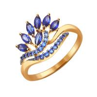 Золотое кольцо с корундами сапфирами и фианитами ДИ714319