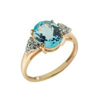 Золотое кольцо с фианитами и раухтопазом ГС1330567тр