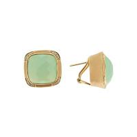 Золотые серьги с бриллиантами и агатами ЮЕ0708АДД10-1215