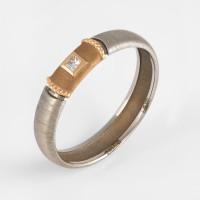Кольцо из белого золота обручальное с бриллиантом КАКО-ОКБ266Ж