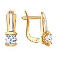 Золотые серьги с фианитами ДИ027534